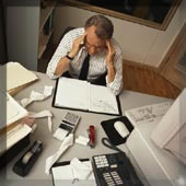 Man at work having trouble managing emotion
